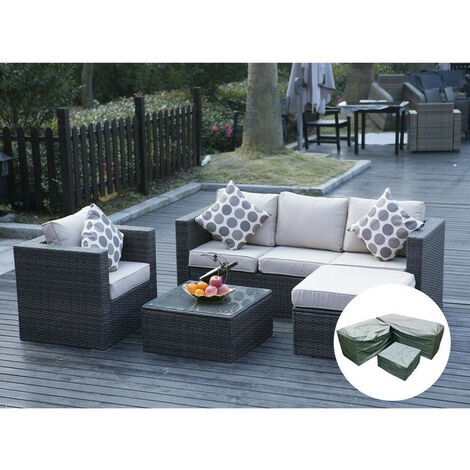 """main image of """"5 Seater New Rattan Garden Furniture Set Brown Sofa Table Chairs With Rain Cover- Patio Conservatory"""""""