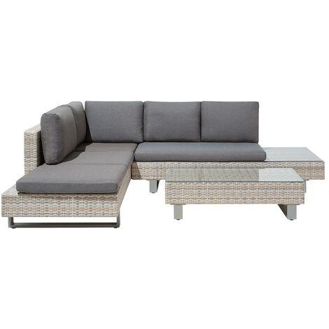 5 Seater Rattan Garden Corner Sofa Set Grey LANCIANO