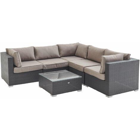 5-seater rattan garden corner sofa set - Napoli grey