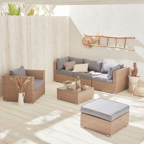 5-seater rattan garden sofa set - Caligari