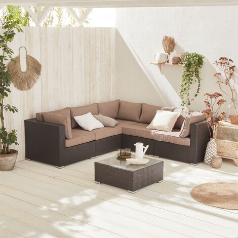 5-seater rattan garden sofa set - Napoli