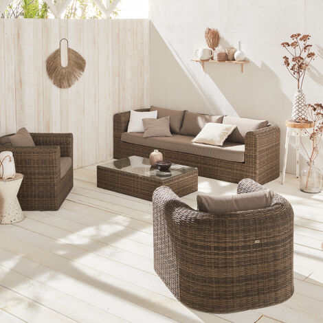 5-seater round rattan garden sofa set - Juliano