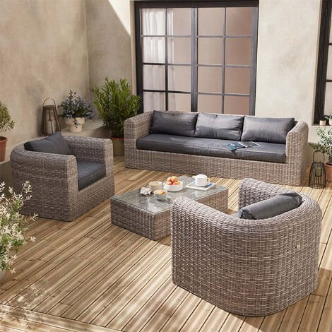 5-seater round rattan garden sofa set - Juliano
