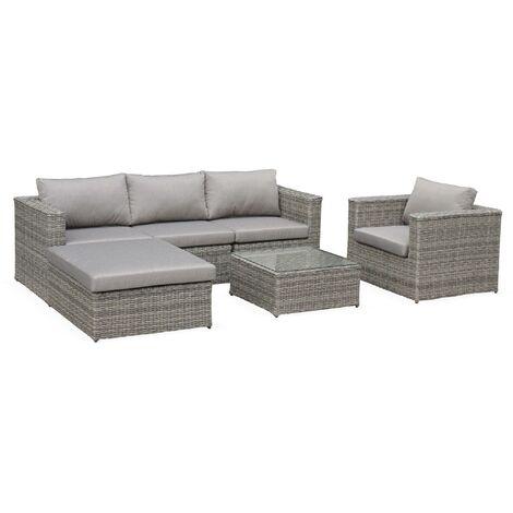 5-seater round rattan garden sofa set - Romini