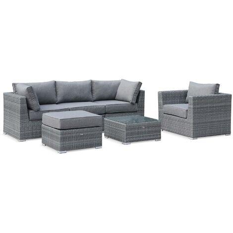 5-seater round rattan garden sofa set - Vinci