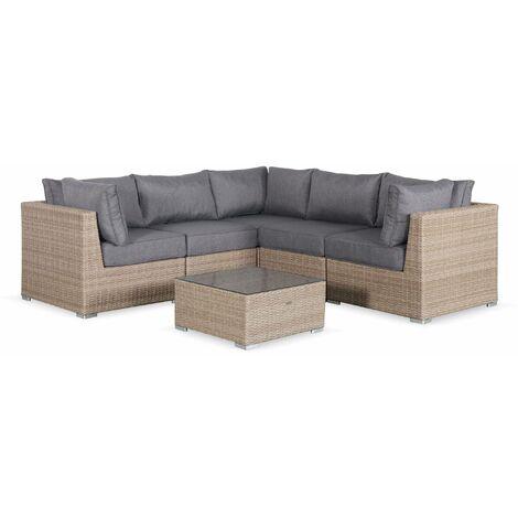 5-seater round rattan garden sofa set - Vittoria
