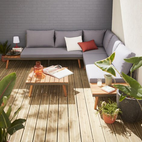 5-seater wooden outdoor sofa - Buenos Aires - corner sofa, acacia side tables and coffee table, aluminium frame