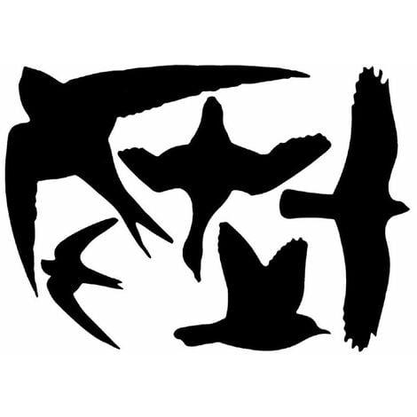 5 silhouettes d'oiseaux autocollantes anti-collision