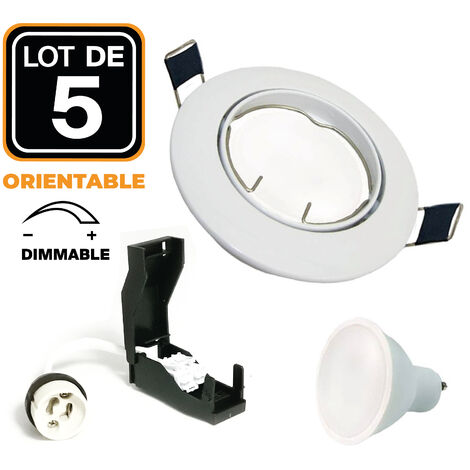 5 Spot encastrable orientable BLANC avec GU10 LED de 7W Dimmable Blanc Chaud 3000K