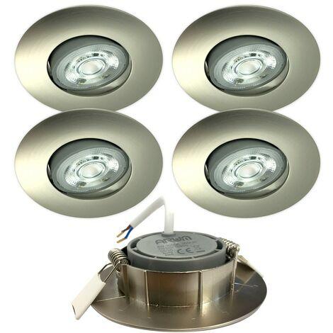 5 Spots Encastrables LED ASTURIE Acier brossé Orientable 5W Eq. 40W | Température de Couleur: Blanc neutre 4000K