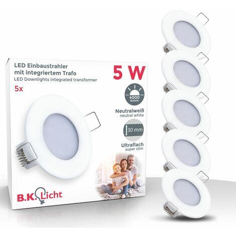5 spots LED encastrables IP44 spots plafond à encastrer éclairage plafond 5W ultra plats
