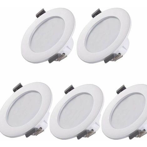 5 spots LED pour salle de bain, IP44 ultra-plat 25mm, Ø85mm, blanc, plafonnier encastré, panneau LED 5W, 460Lm, blanc neutre 4000K