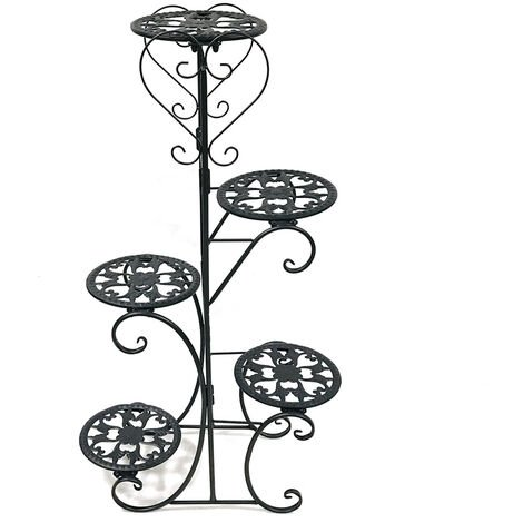 5 Spotted Metal Plant Stand Display Shelf Home Garden Ornaments Indoor Outdoor 98*56cm black Round