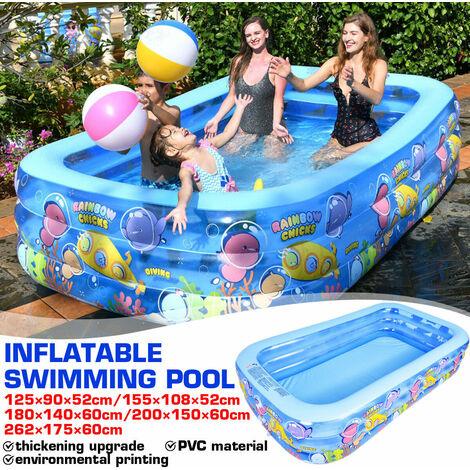 5 tailles 3 couches famille piscine jardin extérieur d'été gonflable enfants pataugeoire (262x175x60cm)