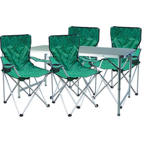 5-teiliges Campingmöbel Set Grün-MMC330872+4xMSP1000