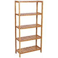 5 Tier Bamboo Bathroom Shelf Unit Storage Stand Shelves Shoe Rack 130 x 60 x 26cm BCB35Y