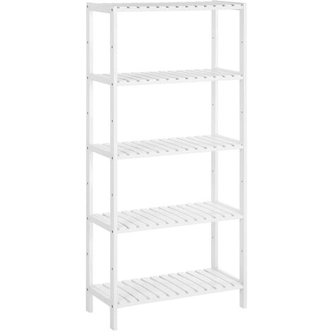 5-Tier Bathroom Storage Shelves, Bamboo Kitchen Shelf with 9 Adjustable Heights, Multifunctional Display Stand in Living Room, Hallway, 60 x 26 x 130 cm, White BCB35WT