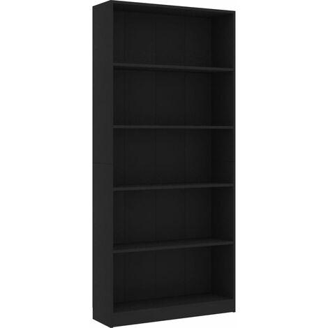 5-Tier Book Cabinet Black 80x24x175 cm Chipboard