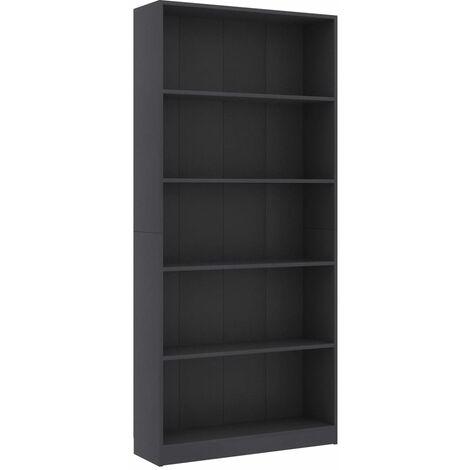 5-Tier Book Cabinet Grey 80x24x175 cm Chipboard
