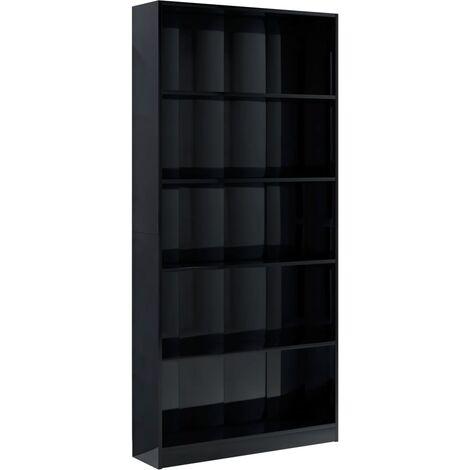 5-Tier Book Cabinet High Gloss Black 80x24x175 cm Chipboard