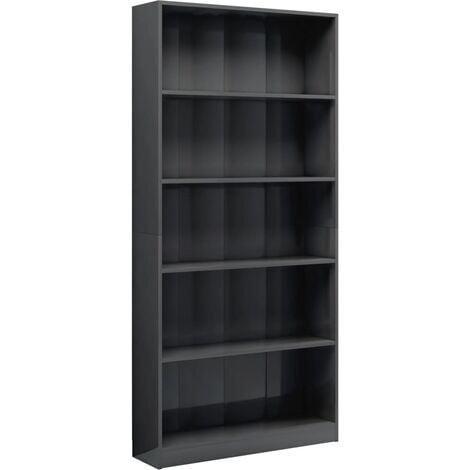 5-Tier Book Cabinet High Gloss Grey 80x24x175 cm Chipboard