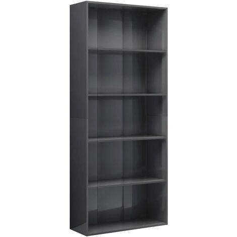 5-Tier Book Cabinet High Gloss Grey 80x30x189 cm Chipboard