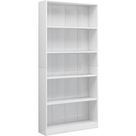 5-Tier Book Cabinet High Gloss White 80x24x175 cm Chipboard