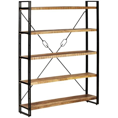 5-Tier Bookcase Solid Mango Wood and Steel 140x30x180 cm