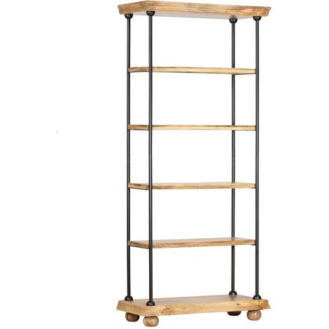 5-Tier Bookshelf 80x35x180 cm Solid Mango Wood and Steel - Brown