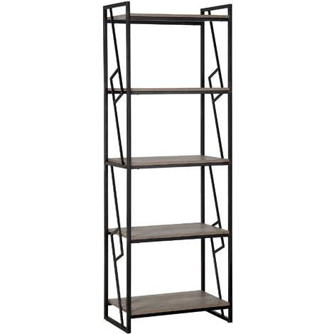 5 Tier Bookshelf Dark Wood and Black FORRES