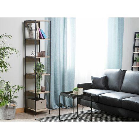 5 Tier Bookshelf Light Wood and Black HACKNEY