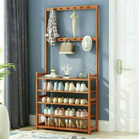 5 Tier Coat Stand Hallway Shoe Rack Hanger Shelf Footwear Storage Vintage Wooden