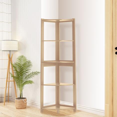 "main image of ""5-Tier Corner Shelf Rack Ladder Shaped Bookcase Plant Stand, White B"""