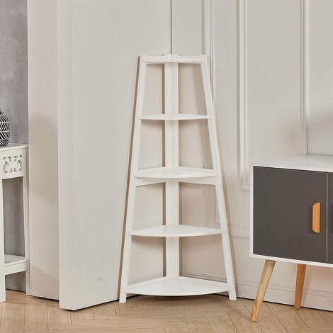 "main image of ""5-Tier Corner Shelf Rack Ladder Shaped Bookcase Plant Stand,Teak B"""