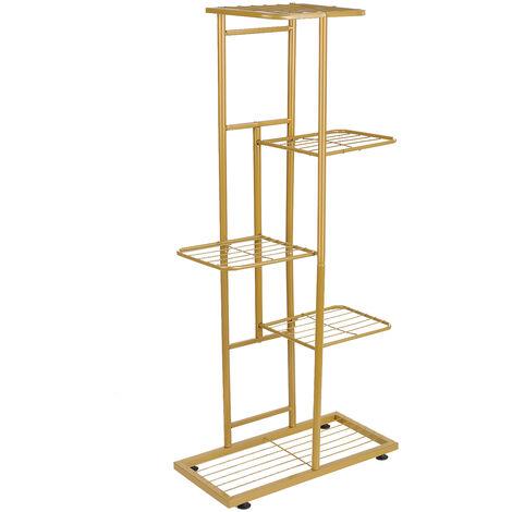 5-Tier estante de exhibicion del estante Macetas Planta soporte para macetas Escalera Planter soporte para trabajo pesado estanterias de almacenamiento en rack de plantas en maceta, Oro