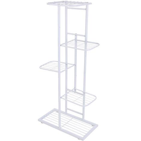 5-Tier estante de exhibicion del estante Macetas Planta soporte para macetas Escalera Planter soporte para trabajo pesado estanterias de almacenamiento en rack de plantas en macetas, blanca