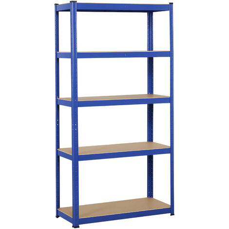 5 Tier Heavy Duty Boltless Metal Shelving Shelves Storage Unit Racking Garage Blue
