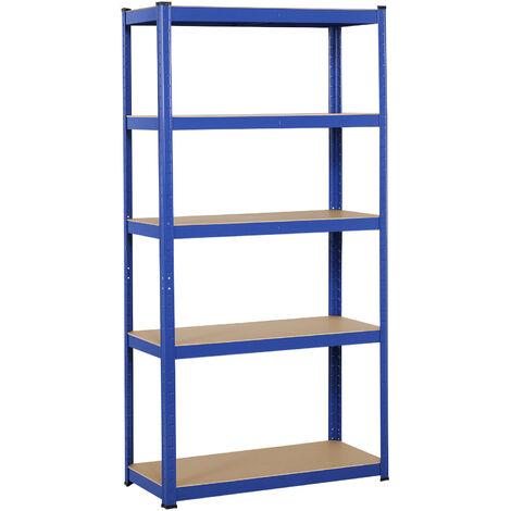 "main image of ""5 Tier Heavy Duty Boltless Metal Shelving Shelves Storage Unit Racking Garage Blue"""