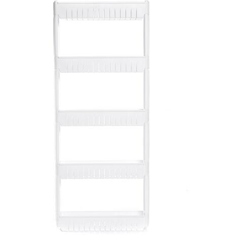 5-Tier Kitchen Storage Rack Slim Slide Movable Plastic Shelf Wheels 54*12*133cm White