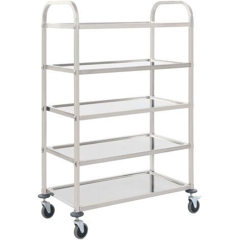 5-Tier Kitchen Trolley 107x55x147 cm Stainless Steel