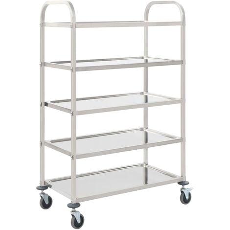 5-Tier Kitchen Trolley 107x55x147 cm Stainless Steel - Silver