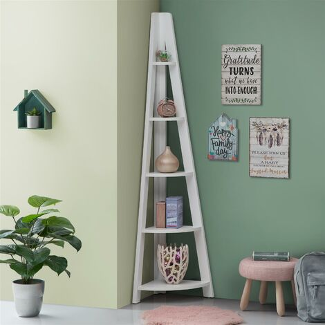 5 Tier Ladder Corner Bookcase Shelving Rack Display Organiser White
