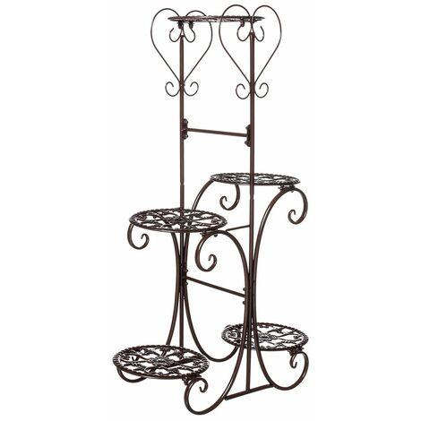 5 Tier Metal Flower Pot, Flower Shelf Holder, Garden, Indoor, Outdoor (Brown, Type B)