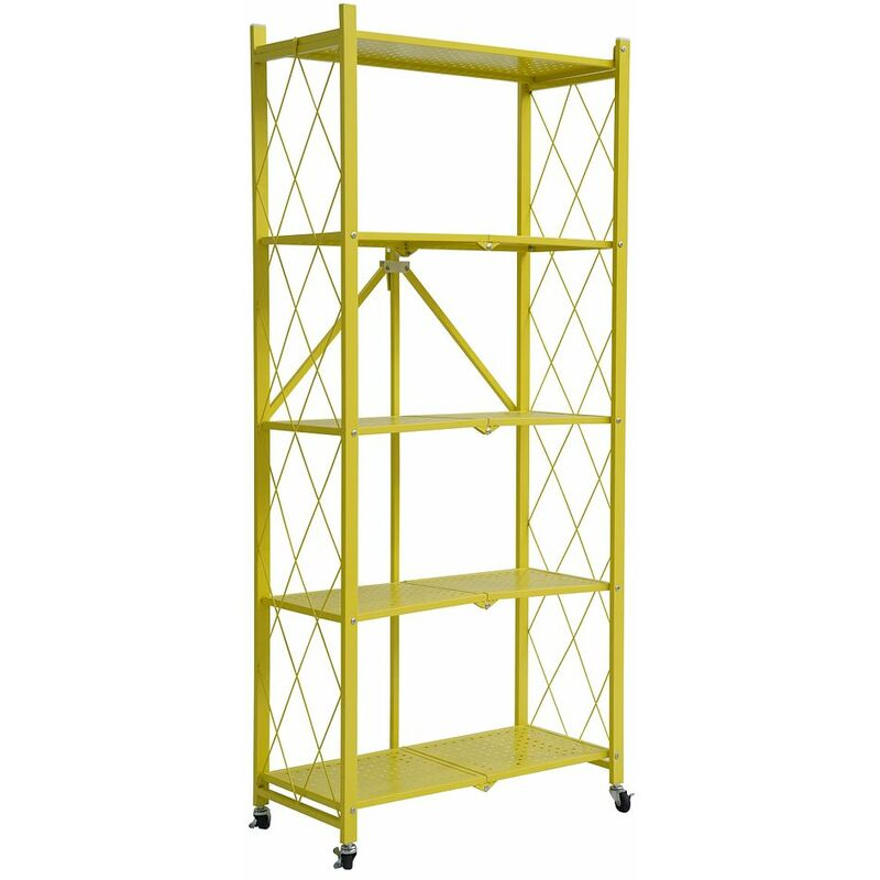 Image of 5 Tier Metal Folding shelf with Wheels. Bedroom, Office, Garage Storage Rack - Yellow