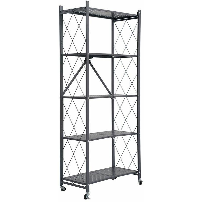 Image of 5 Tier Metal Folding shelf with Wheels. Bedroom, Office, Garage Storage Rack - Grey