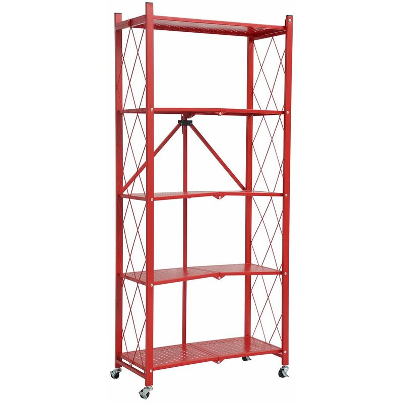 Image of 5 Tier Metal Folding shelf with Wheels. Bedroom, Office, Garage Storage Rack - Red