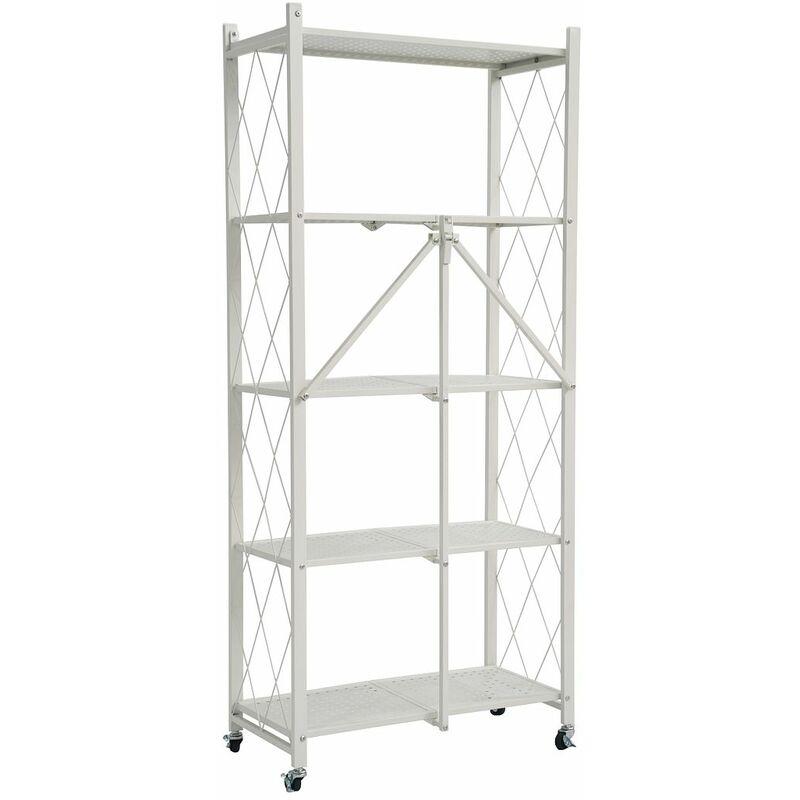 Image of 5 Tier Metal Folding shelf with Wheels. Bedroom, Office, Garage Storage Rack - White