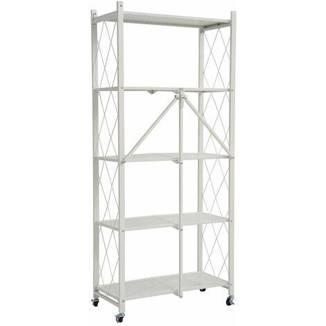 5 Tier Metal Folding shelf with Wheels. Bedroom, Office, Garage Storage Rack - White