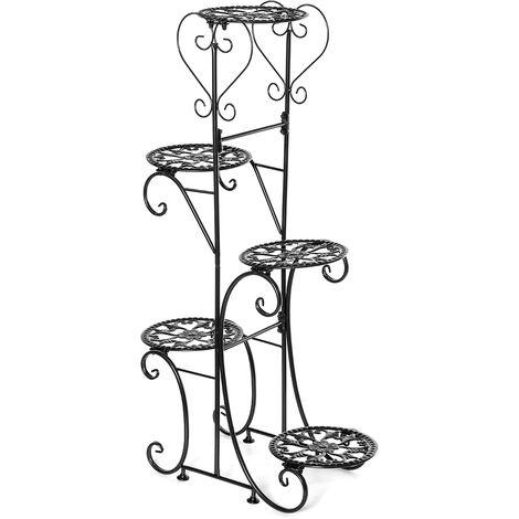 5 Tier Metal Plant Pot Rack, Flower Display Stand, Patio, Garden, Home (Black, Round Racks)