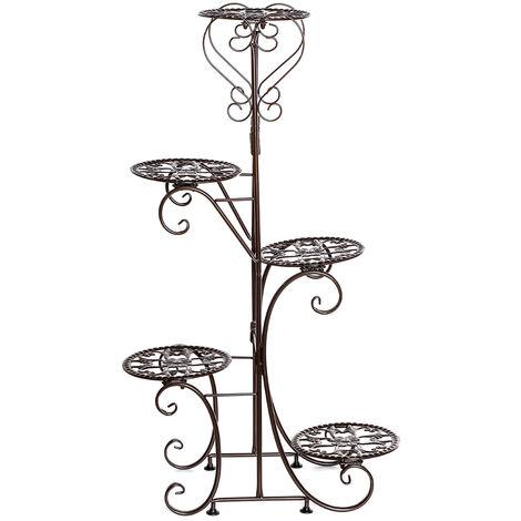 5 Tier Metal Plant Pot Rack, Flower Display Stand, Patio, Garden, Home (Brown, Round Racks)